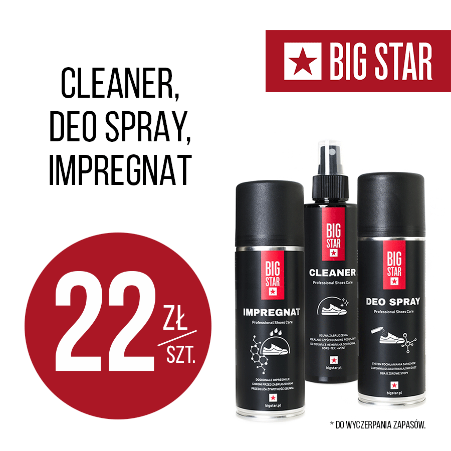 BIG STAR: cleaner, impregnat lub deo spray – 22 zł
